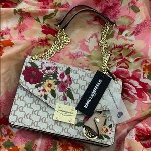 NWT Karl Lagerfeld logo floral handbag